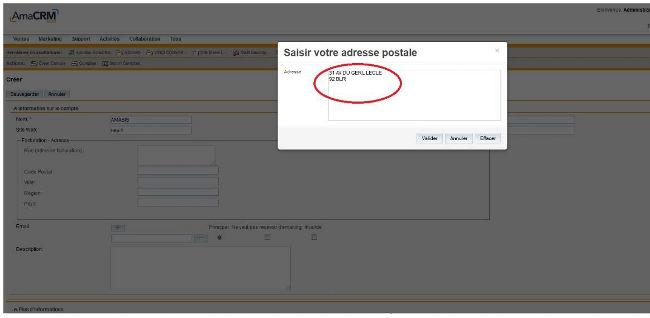 Lorsqu'une adresse saisie est partiellement correcte, elle est automatiquement corrigée par l'outil