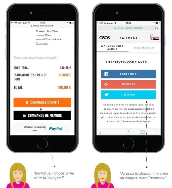 Etape d'identification sur les sites mobiles de Nike (gauche) et d'Asos (droite)