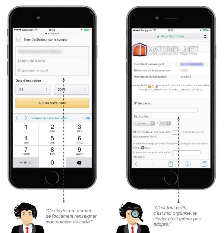 Etape de paiement sur les sites mobiles d'Amazon (gauche) et de Materiel.net (droite)